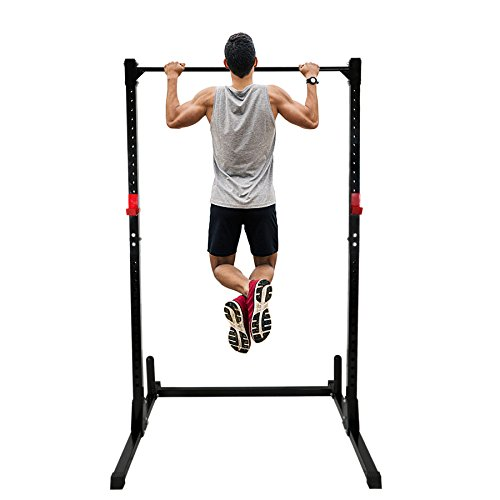 F2C Adjustable Height Power Squat Rack Cage Stand System Strength Deadlift Power Lifting Weightlifting Rack W/Pull Up Bar Exercise Stand Squat Rack Bench Curl Weight Stand