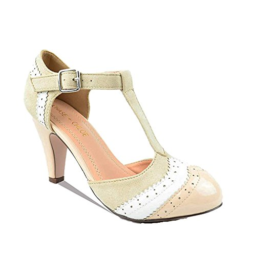 - Chase & Chloe Kimmy-66 Closed Toe T-Strap Two Tone Oxford Pumps (10, Nude/White)