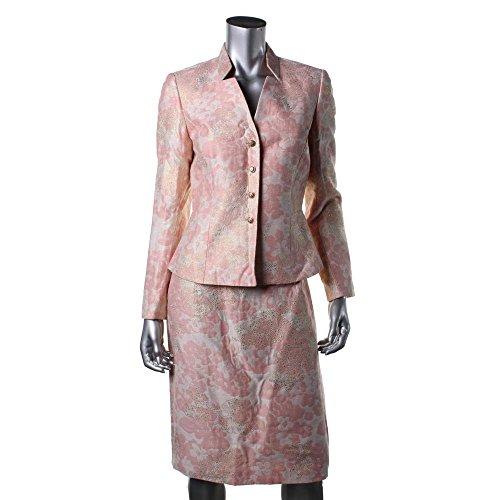 TAHARI Iliana Pink Metallic 2 Piece Floral Jacquard Skirt Suit, 6