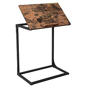 VASAGLE Table d'appoint, Bout de canapé, Petit Bureau pour Ordinateur Portable, Dessus de Table inclinable, Cadre en…