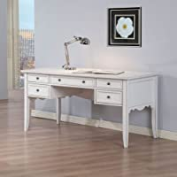 This Timeless Antique Vintage Style White Writing Desk Will Enhance Your Study and Keep You Organized in Your Home Office. A Brushed White Finish and Five-drawer Design Completes This Classic Desk. A Perfect Furniture Piece for Your Laptop or Desktop While Adding a Charming Style to Your Decor.