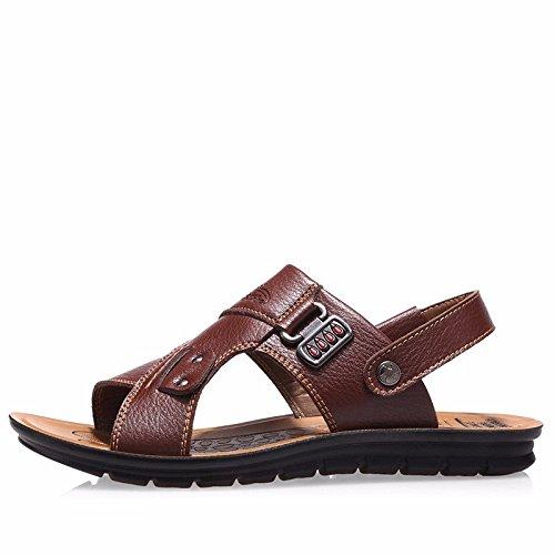 Echtleder Sandalen Männer Das neue Männer Strand Schuh Sommer Freizeit Atmungsaktiv Jugend Sandalen Rutschfest ,braun ,US=7,UK=6.5,EU=40,CN=40