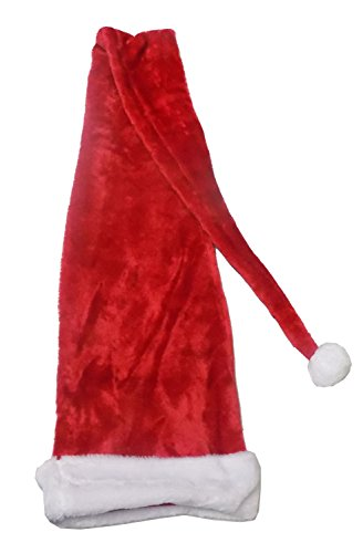 Extra Long Adult Christmas Plush Red & White Santa Hat - almost 5 feet long! -
