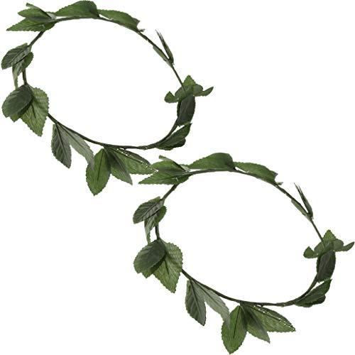 SM SunniMix 2 Pieces Plastic Green Leaves Headwear Roman Greek Goddess Laurel Wreath Headbands Wedding Summer Beach Photo Props ()