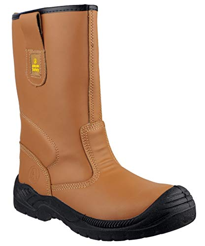 Amblers Safety Mens FS142 Water Resistant Pull On Safety Rigger Boot Tan Size UK 8 EU 42 ()