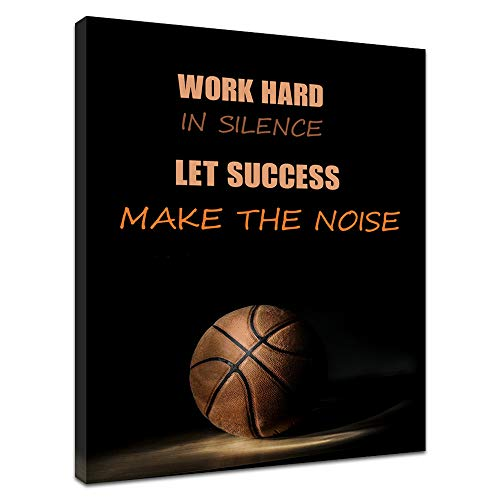 Innopics Motivational Quote Basketball Picture Print on Canvas Sport Black Background Painting Inspirational Wall Art Decor Stretched and Framed for Home Office Living Room Decoration 24
