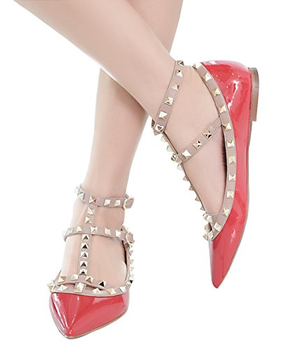 Jiu du Women's Sexy Ankle Strap Flats Shoes Pointed Toe Fashion Rivets Party Shoe Red Apricot Patent Pu 100% original new styles cheap price amazing price cheap online BvuaymD