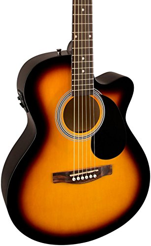 Fender FA-135CE Cutaway Concert Acoustic-Electric Guitar 3-Color Sunburst (White Acoustic Guitar Fender)