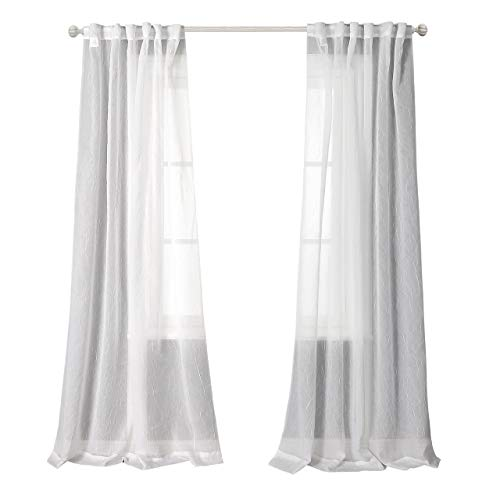 Crushed Voile - MYSKY HOME Back Tab and Rod Pocket Window Crushed Voile Sheer Curtains for Doors, White, 51 x 84 inch, Set of 2 Crinkle Sheer Curtain Panels