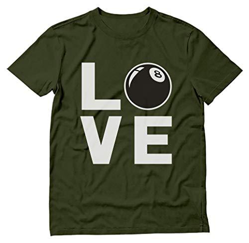 TeeStars - Love 8 Ball - Gift for Snooker Billiard & Pool Players T-Shirt XX-Large Olive