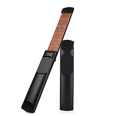 Nanagogo ZH-02 Pocket Guitar Practice Tool Portable Chord Trainer Guitar Finger Exercise & Chords Practice Tool 6 String 6 Fret Black.