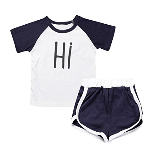 Vibola Summer Toddler Kids Print Short T Shirt +Pant Baby sports Clothes Set (Size:3T) (Pretty Girl Outfits)