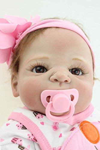 NKol Reborn Dolls Silicone Full Body Waterproof Baby Girl Dolls, 22inch 57cm Pink Outfits Kids Simulation Toys by NKol