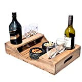 ARTISTIC (TM) Wine Serving Tray/Wine Tray, Multi Purpose Tray, Beautifully Hand Crafted Bar and Kitchen Accessory with bottle and glass holder