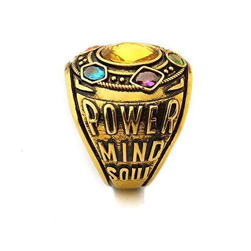 N-BOOMOR Thanos Power Ring Movie Cosplay Golden Ring with Crystals Halloween Costume Prop -