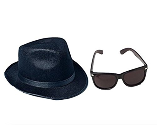Black Fedora Blues Brothers Gangster Costume Accessory Kit- Fedora and Sunglasses