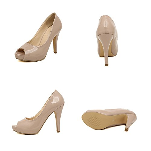 pink Heel Peep Shoes nude 37 High toe Thin qBCcZSS