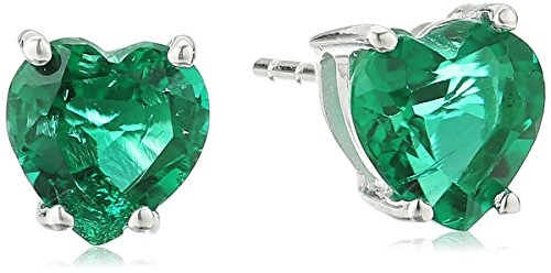 Created Emerald Heart-Shaped Stud Earrings in 10k White Gold