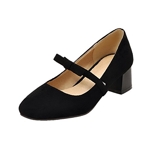 Toe Pull On Black Pumps Kitten Heels Women's Solid Frosted Closed Shoes WeiPoot 0wqTE11