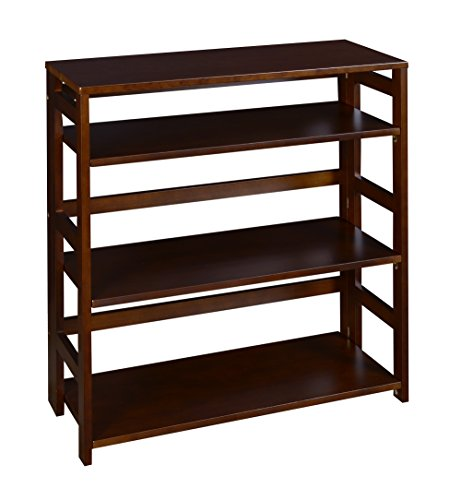Regency Flip Flop 34-inch High Folding Bookcase- Mocha (One Fold Down Shelf)