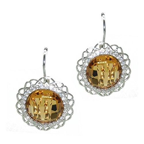 CREAZIONI Oro Boucles d'oreilles en argent rhodié avec zirconium et Citrine 16menor1797