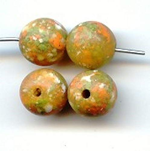 (24 Vintage Granite Green Lucite 10mm. Round Beads HDRY- 2339)