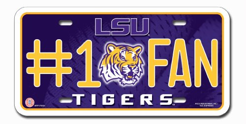 NCAA LSU Tigers #1 Fan Metal Auto Tag (Lsu Metal)