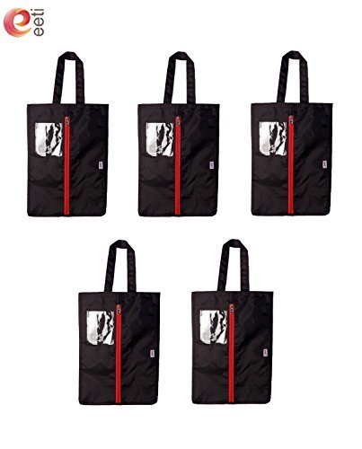 Travel Shoe Bags / Shoe Cover 16''x12'' (5-Pack)Made of Strong Fabric Water proof, Dust Proof,Shoe Tote Bags with Heavy Duty Zipper