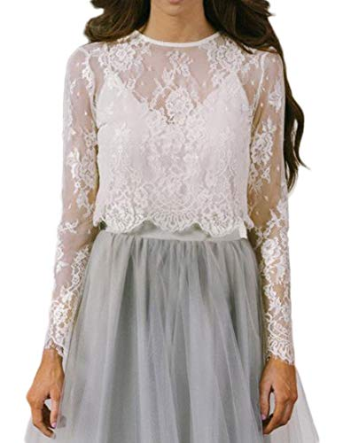 Women's Long Sleeve See Through Lace Crop Top Sheer Blouse (Small, Ivory)