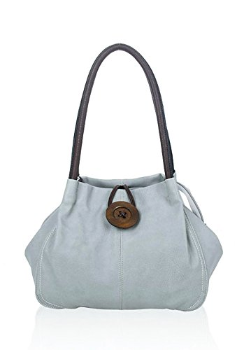 23cm x Foxlady Big 16cm x Handle Women's Small Bag black Large Grey Casual Button Tote Wooden 35cm With U414rcO