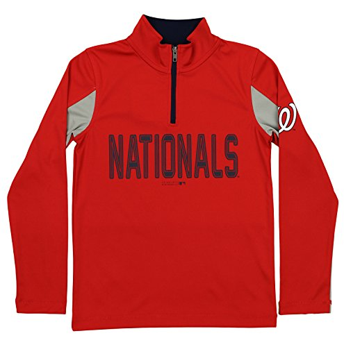 Outerstuff MLB Youth Boys 1/4 Zip Performance Long Sleeve Top, Washington Nationals, Small ()