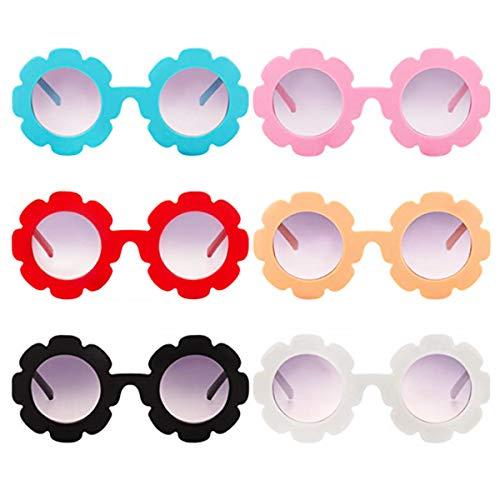 6 Pack Unisex Kids Flower Shape Sunglasses Beach Outdoor Decorative ()