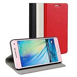 LCJ Samsung Galaxy A5 compatible Solid Color Plastic/PU Leather Full Body Cases/Cases with Stand , Red