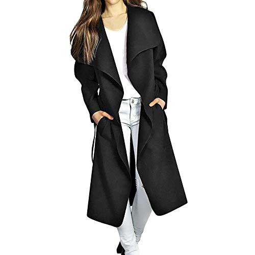 Hoshell Clearance Womens Long Coat Lapel Parka Jacket Cardigan Overcoat Outwear (XL, Black) -