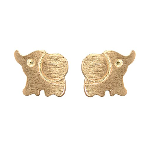 Paialco 925 Sterling Silver Cute Elephant Earrings Studs Tiny Size, Rose Gold Plating ()