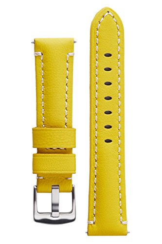 Patek Philippe Yellow Bracelet - Signature Captain Yellow 22 mm Calfskin Watch Band Anti Scratch Leather Watch Strap Bracelet. Silver Buckle