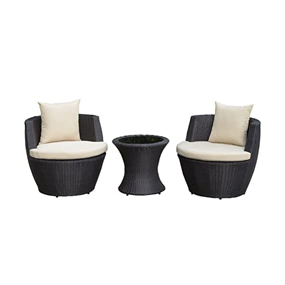 Outsunny Outdoor 3 Piece Patio Rattan Nesting Chair Conversation Set- Dark Brown - ✅SPACE SAVING DESIGN: The rattan furniture set includes 2 single chairs and 1 tea table. This set can be stored away in a large vase shape, bringing space-saving convenience. ✅CUSHION COMFORT: The set includes 2 seat cushions and 2 back cushions. The high-density sponge or PP cotton in the cushion provides added support and superior comfort. Made of water-resistant polyester, the zippered cushion covers are removable for easy cleaning. ✅WEATHER RESISTANT: Compared with traditional rattan material, PE rattan is more practical for its water resistant and UV resistant. It is of easy maintenance and ideal for outdoor space. - patio-furniture, patio, conversation-sets - 41Qj8RwYilL. SS570  -