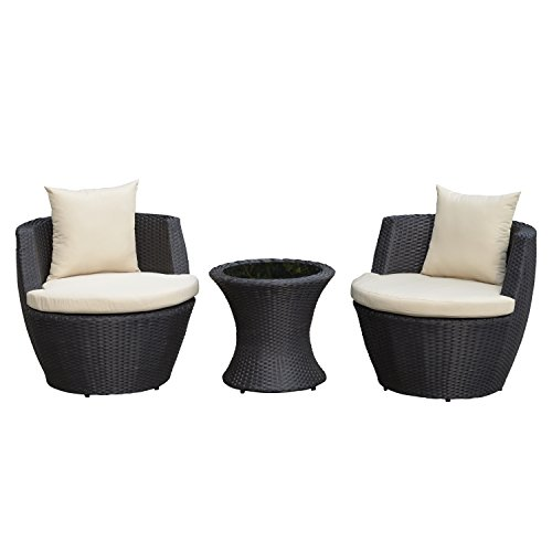 Outsunny Outdoor 3 Piece Patio Rattan Nesting Chair Conversation Set Garden -Dark (Sunroom Furniture)