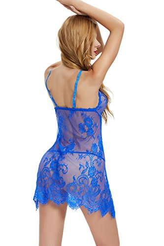 Nightwear Intimo Abito Notte Thong with Sleepwear Aibrou Babydoll Dress Donne Blue floreale Breve Notte Outfits da qcvtSw