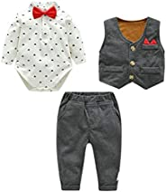 Lemohome Baby Boy Waistcoat Gentleman Suit Long Sleeve 3 Pieces Wedding Outfits