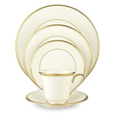 Lenox Eternal White Gold-Banded Bone China 5-Piece Place Setting, Service for 1 - 5-piece Eternal White place setting Dinner plate, salad plate, bread plate, saucer, teacup Crafted of fine bone china and accented with 24-karat gold in USA - kitchen-tabletop, kitchen-dining-room, dinnerware-sets - 41Qj8gK7I L. SS400  -