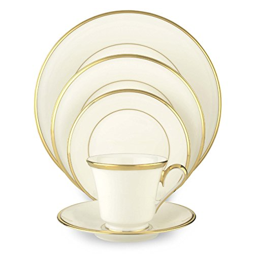 Eternal Fine Dinnerware (Lenox Eternal White Gold-Banded Bone China 5-Piece Place Setting, Service for 1)