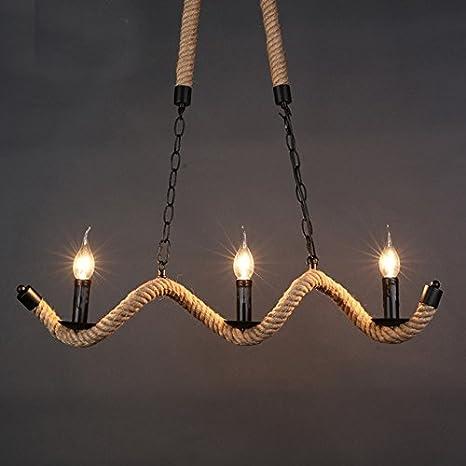 Nordic rústico lámparas de techo de cuerda de cáñamo 3 ...