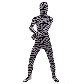 - 41Qj9ASaiJL - Halloween Cosplay Full Bodysuit Animal Pretend Play Zebra Dress Up Zentai Costume