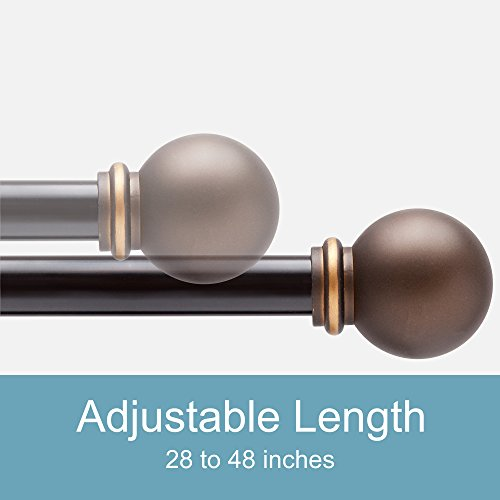 Bronze curtain rods for windows 28 to 48 inch