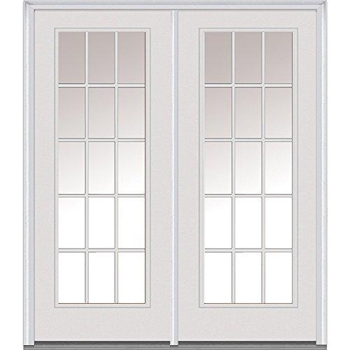 Patio Door Grilles (National Door Company Z001644R Steel, Primed, Right Hand In-Swing, Center Hinged Patio Door, Clear Glass Internal Grilles, 64