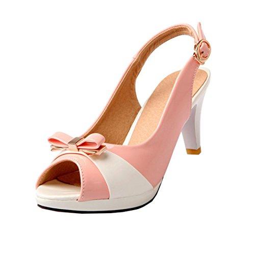 YE Damen Peep Toe Rockabilly Sandalen Knöchelriemchen Stiletto High Heels Plateau mit Schleife und Schnalle 7cmAbsatz Bequem Retro Schuhe Rosa