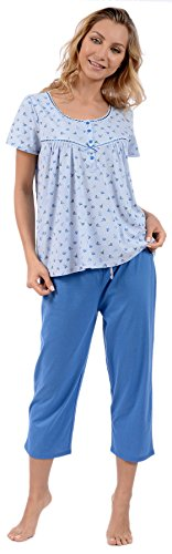 Pink Lady Women's Knit Floral Top and Capri 2 Piece Pajama Set Blue Medium