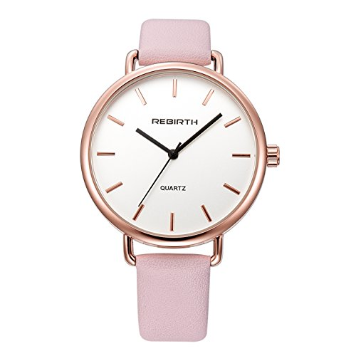 Top Plaza Unisex Classic Luxury Dress Pink Leather Rose Gold Case Quartz Wrist Business Analog Watch 3 ATM Waterproof ()