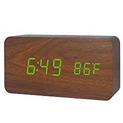 LED Wood Alarm Clock Desktop Electronic Travel Home Modern Fashion Calendar Digital Displays Date Time Temperature with Voice Control Features (Brown Wood Green Light)